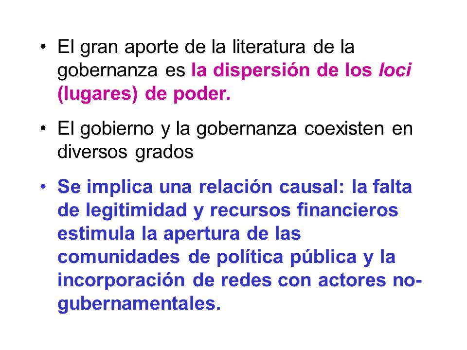 El gran aporte de la literatura de la gobernanza es la dispersión de los loci (lugares) de poder. El gobierno y la gobernanza coexisten en diversos gr
