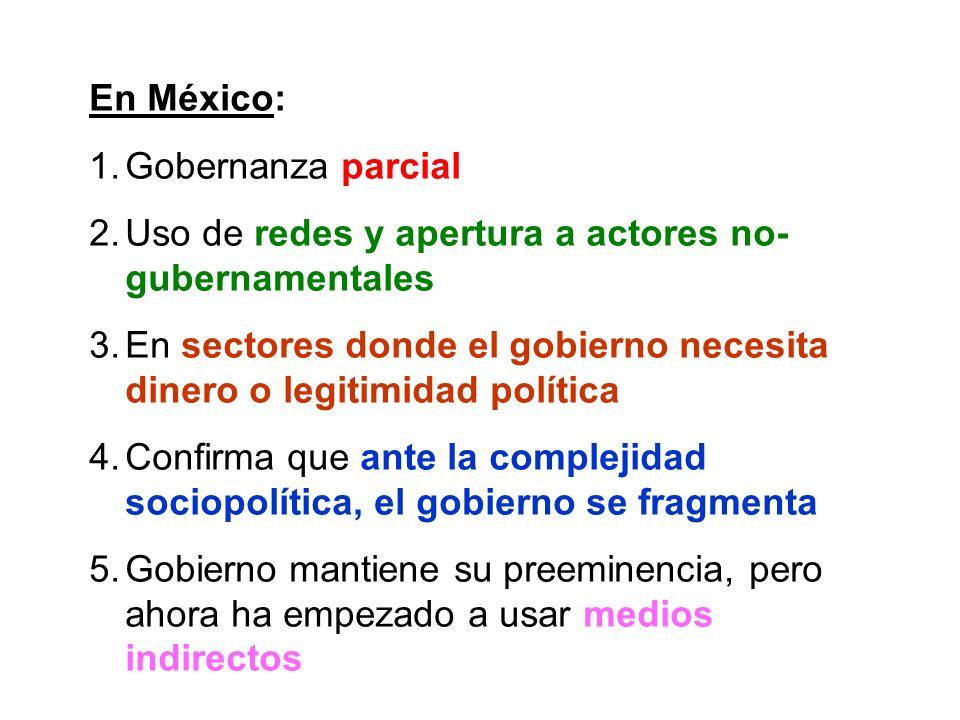 En México: 1.Gobernanza parcial 2.Uso de redes y apertura a actores no- gubernamentales 3.En sectores donde el gobierno necesita dinero o legitimidad