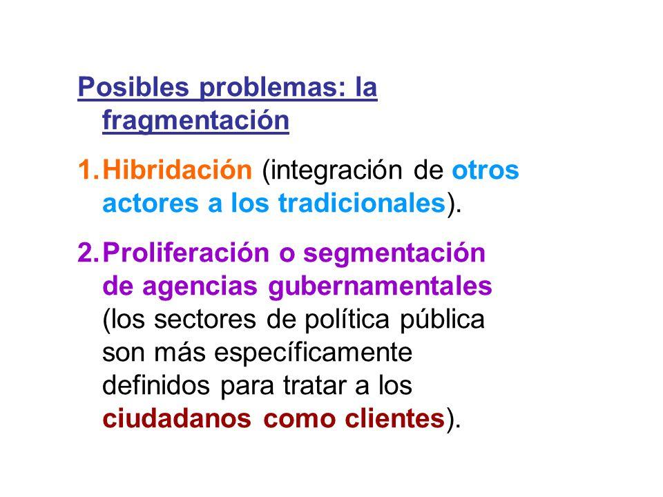 Posibles problemas: la fragmentación 1.Hibridación (integración de otros actores a los tradicionales). 2.Proliferación o segmentación de agencias gube