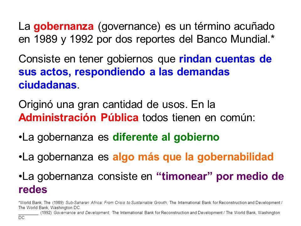La gobernanza (governance) es un término acuñado en 1989 y 1992 por dos reportes del Banco Mundial.* Consiste en tener gobiernos que rindan cuentas de