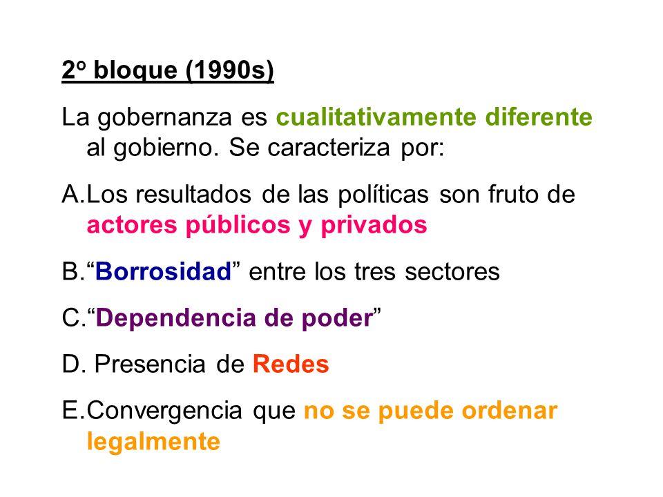 2 o bloque (1990s) La gobernanza es cualitativamente diferente al gobierno. Se caracteriza por: A.Los resultados de las políticas son fruto de actores