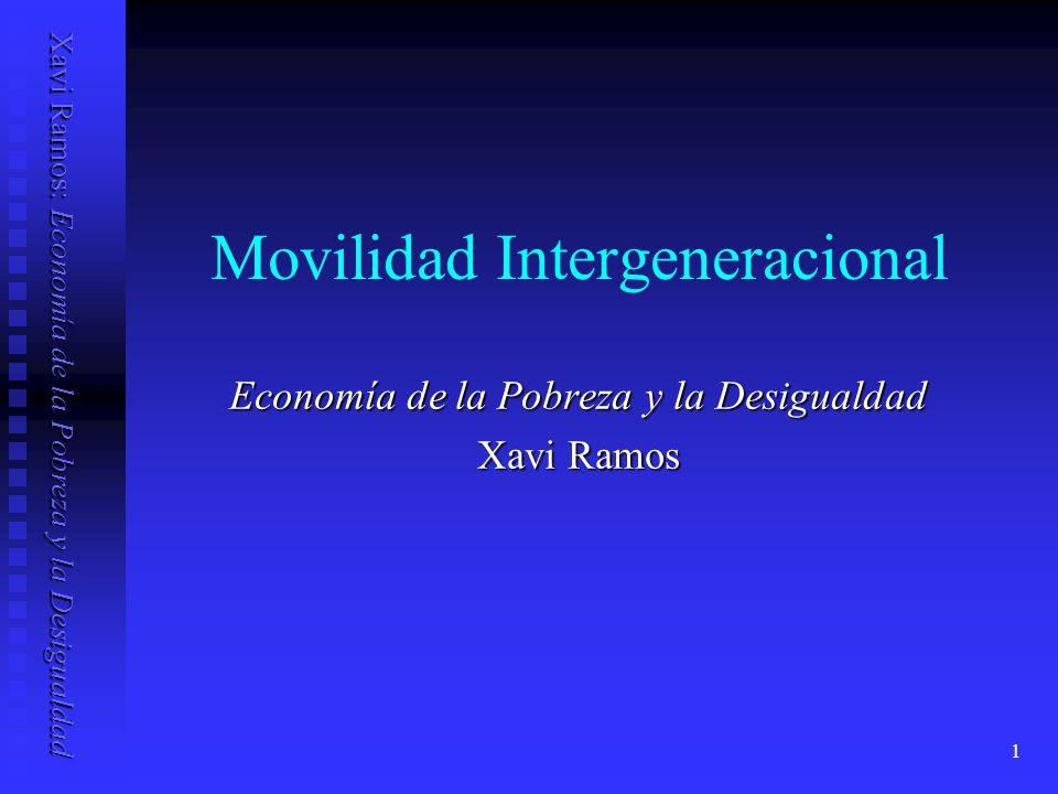 Xavi Ramos: Economía de la Pobreza y la Desigualdad 1 Movilidad Intergeneracional Economía de la Pobreza y la Desigualdad Xavi Ramos