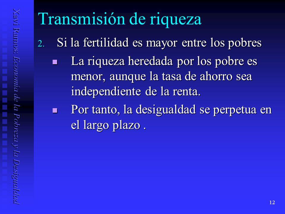 Xavi Ramos: Economía de la Pobreza y la Desigualdad 12 Transmisión de riqueza 2.