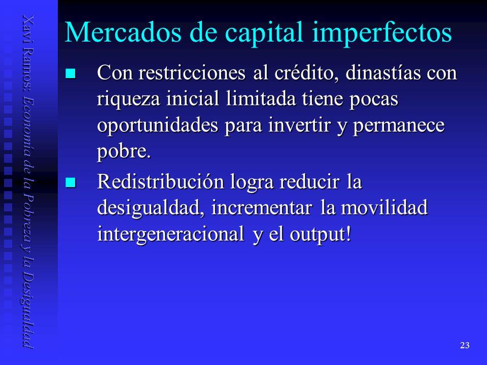 Xavi Ramos: Economía de la Pobreza y la Desigualdad 23 Mercados de capital imperfectos Con restricciones al crédito, dinastías con riqueza inicial limitada tiene pocas oportunidades para invertir y permanece pobre.