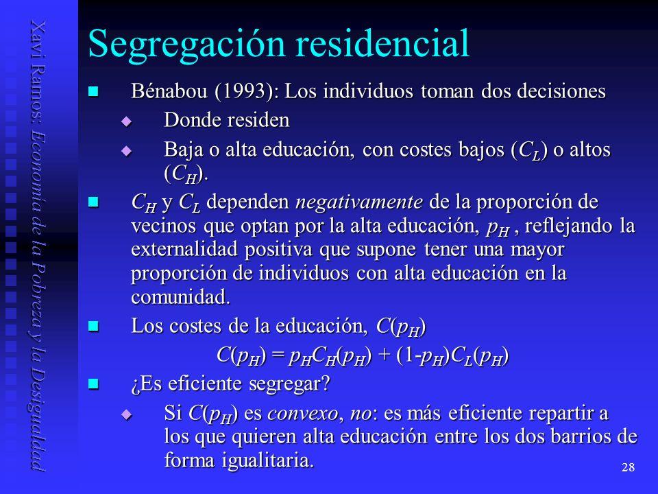 Xavi Ramos: Economía de la Pobreza y la Desigualdad 28 Segregación residencial Bénabou (1993): Los individuos toman dos decisiones Bénabou (1993): Los individuos toman dos decisiones Donde residen Donde residen Baja o alta educación, con costes bajos (C L ) o altos (C H ).