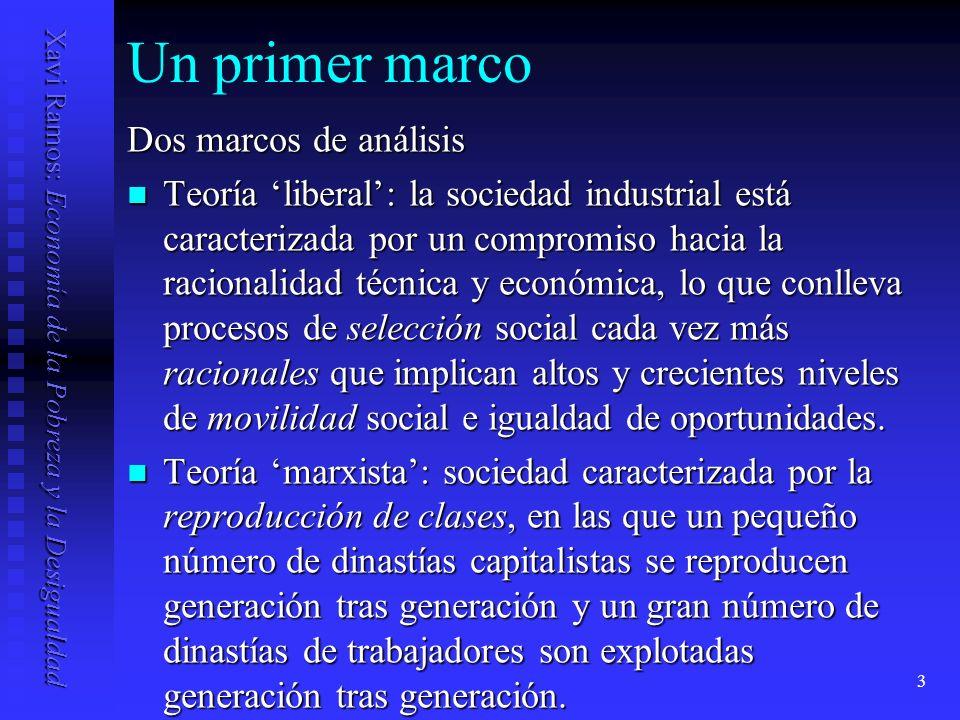 Xavi Ramos: Economía de la Pobreza y la Desigualdad 4 Un primer marco Ambas teorías presuponen que la movilidad debería ser alta.