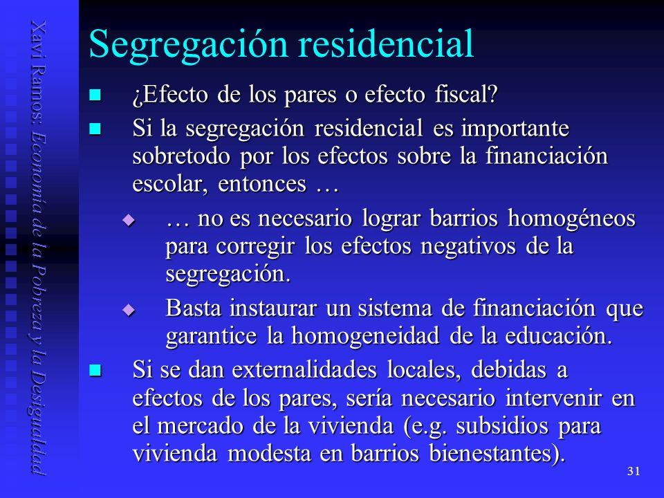 Xavi Ramos: Economía de la Pobreza y la Desigualdad 31 Segregación residencial ¿Efecto de los pares o efecto fiscal.