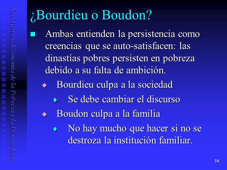 Xavi Ramos: Economía de la Pobreza y la Desigualdad 34 ¿Bourdieu o Boudon.