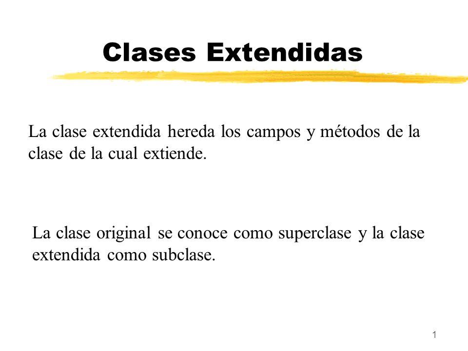 1 Clases Extendidas La clase extendida hereda los campos y métodos de la clase de la cual extiende. La clase original se conoce como superclase y la c