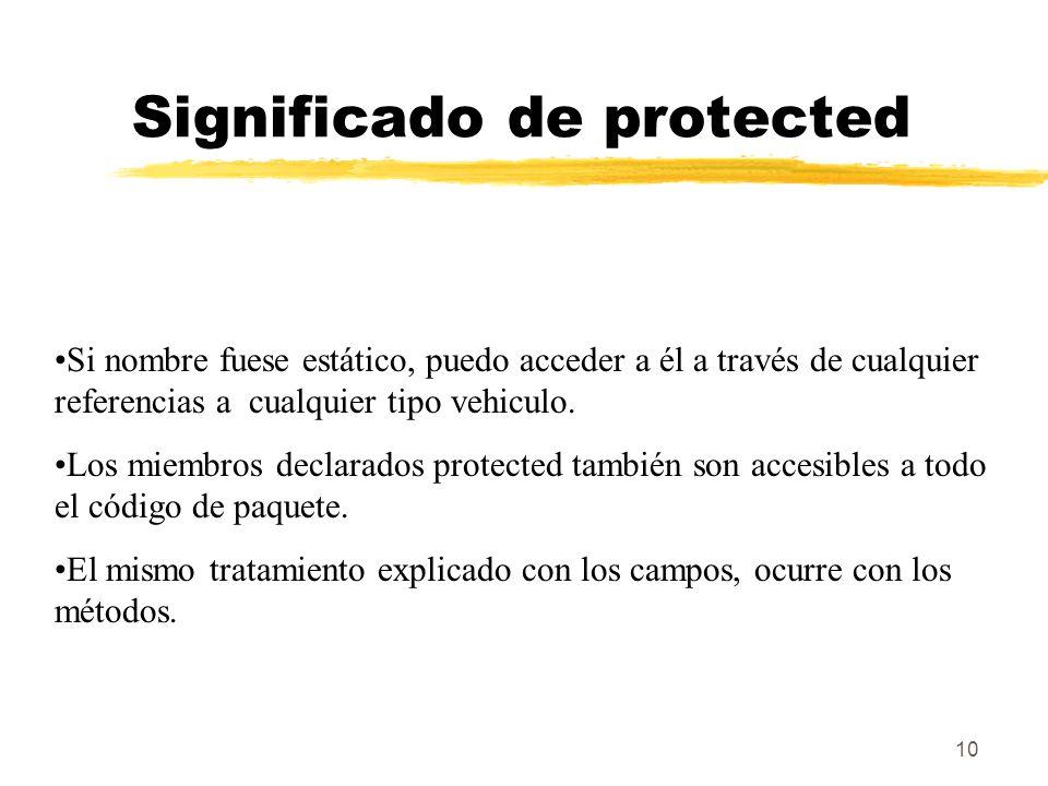 10 Significado de protected Si nombre fuese estático, puedo acceder a él a través de cualquier referencias a cualquier tipo vehiculo.