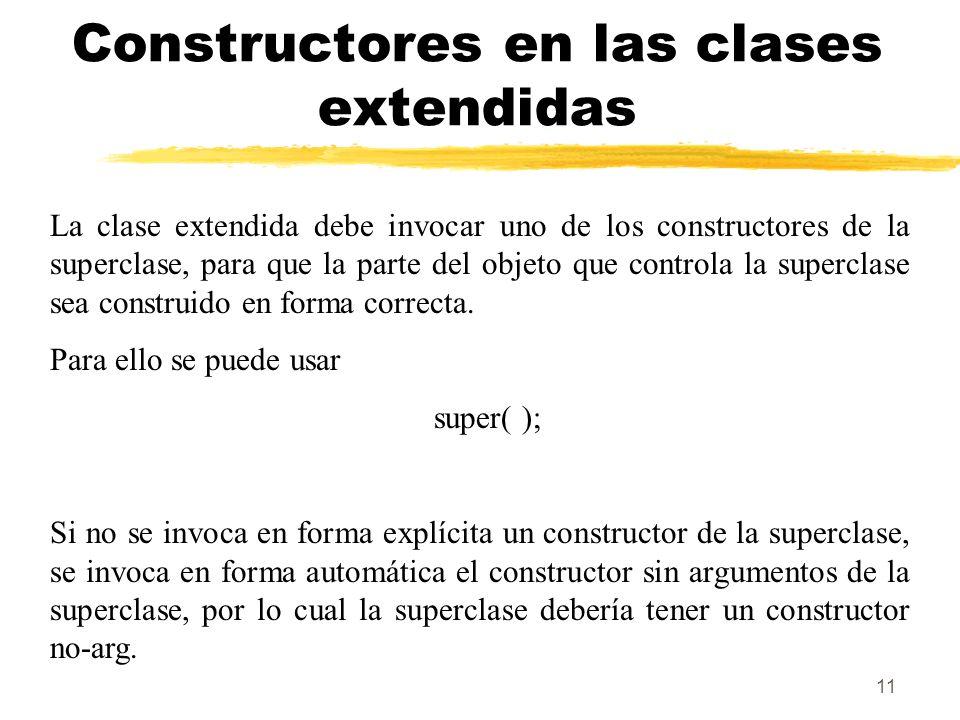 11 Constructores en las clases extendidas La clase extendida debe invocar uno de los constructores de la superclase, para que la parte del objeto que controla la superclase sea construido en forma correcta.