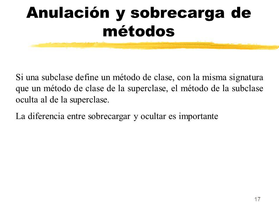 17 Anulación y sobrecarga de métodos Si una subclase define un método de clase, con la misma signatura que un método de clase de la superclase, el método de la subclase oculta al de la superclase.