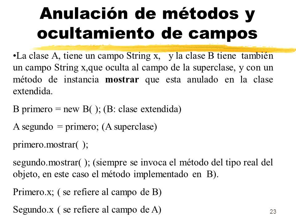 23 Anulación de métodos y ocultamiento de campos La clase A, tiene un campo String x, y la clase B tiene también un campo String x,que oculta al campo de la superclase, y con un método de instancia mostrar que esta anulado en la clase extendida.
