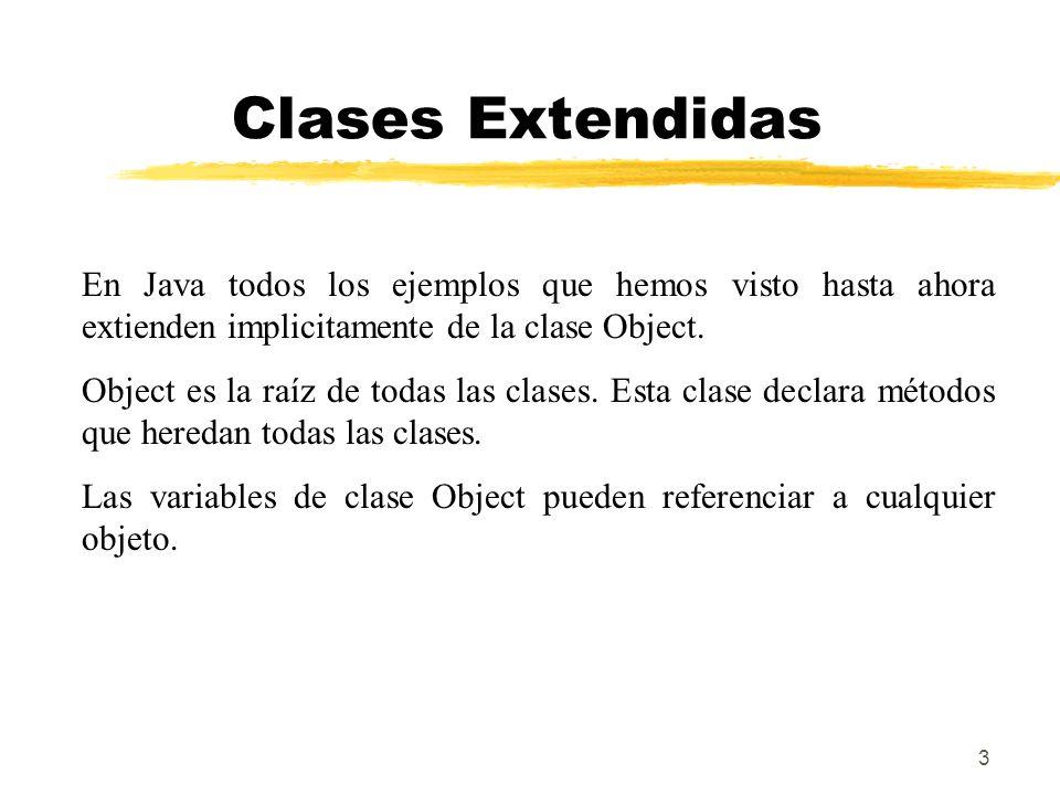 3 Clases Extendidas En Java todos los ejemplos que hemos visto hasta ahora extienden implicitamente de la clase Object. Object es la raíz de todas las