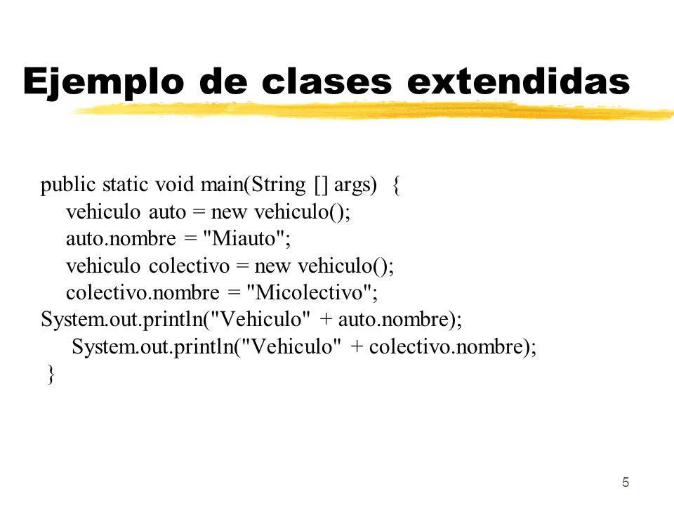 5 Ejemplo de clases extendidas public static void main(String [] args) { vehiculo auto = new vehiculo(); auto.nombre =