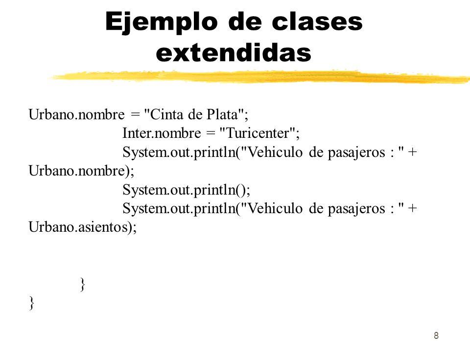 19 Anulación y sobrecarga de métodos public class Cat extends Animal { public static void testClassMethod() { System.out.println( The class method in Cat. ); } public void testInstanceMethod() { System.out.println( The instance method in Cat. ); } public static void main(String[] args) { Cat myCat = new Cat(); Animal myAnimal = myCat; Animal.testClassMethod(); myAnimal.testInstanceMethod(); }