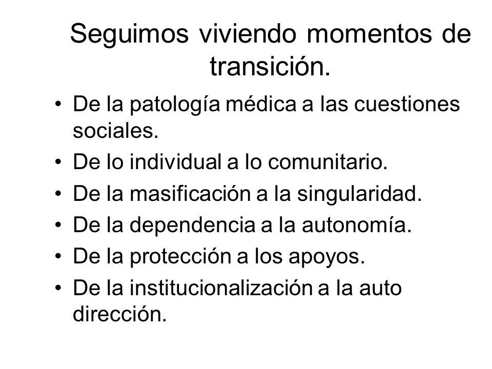 Seguimos viviendo momentos de transición. De la patología médica a las cuestiones sociales. De lo individual a lo comunitario. De la masificación a la