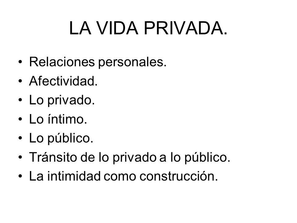 LA VIDA PRIVADA. Relaciones personales. Afectividad. Lo privado. Lo íntimo. Lo público. Tránsito de lo privado a lo público. La intimidad como constru