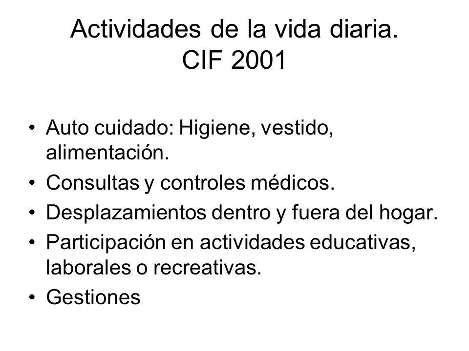 Actividades de la vida diaria. CIF 2001 Auto cuidado: Higiene, vestido, alimentación. Consultas y controles médicos. Desplazamientos dentro y fuera de