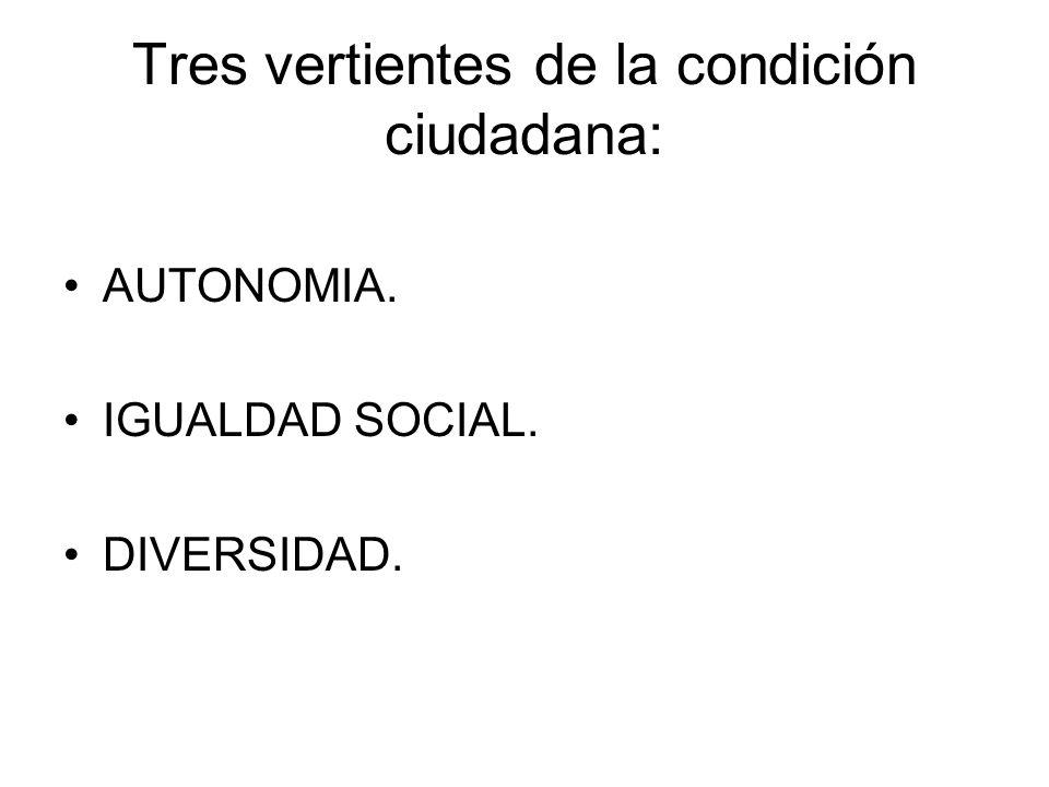 Tres vertientes de la condición ciudadana: AUTONOMIA. IGUALDAD SOCIAL. DIVERSIDAD.