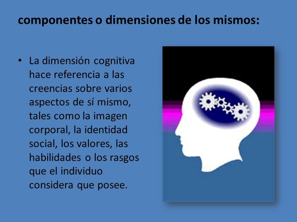 : componentes o dimensiones de los mismos: La dimensión cognitiva hace referencia a las creencias sobre varios aspectos de sí mismo, tales como la imagen corporal, la identidad social, los valores, las habilidades o los rasgos que el individuo considera que posee.