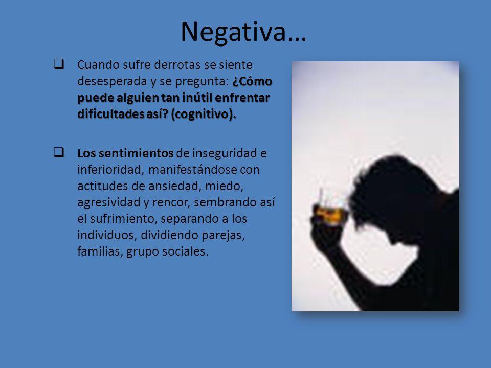Negativa… ¿Cómo puede alguien tan inútil enfrentar dificultades así.