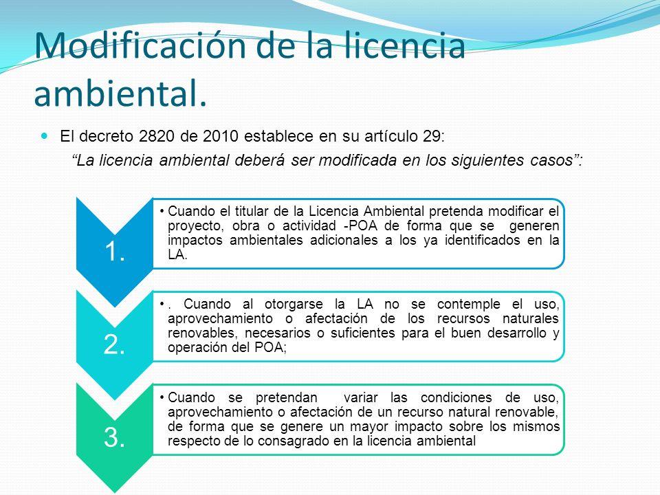 Modificación de la licencia ambiental.