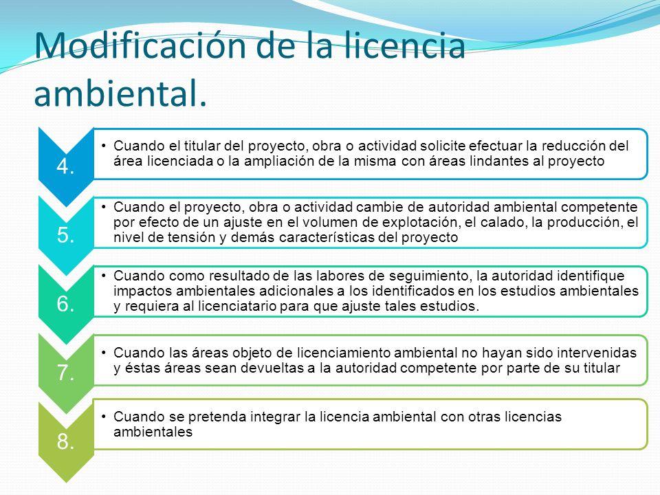 Modificación de la licencia ambiental.4.