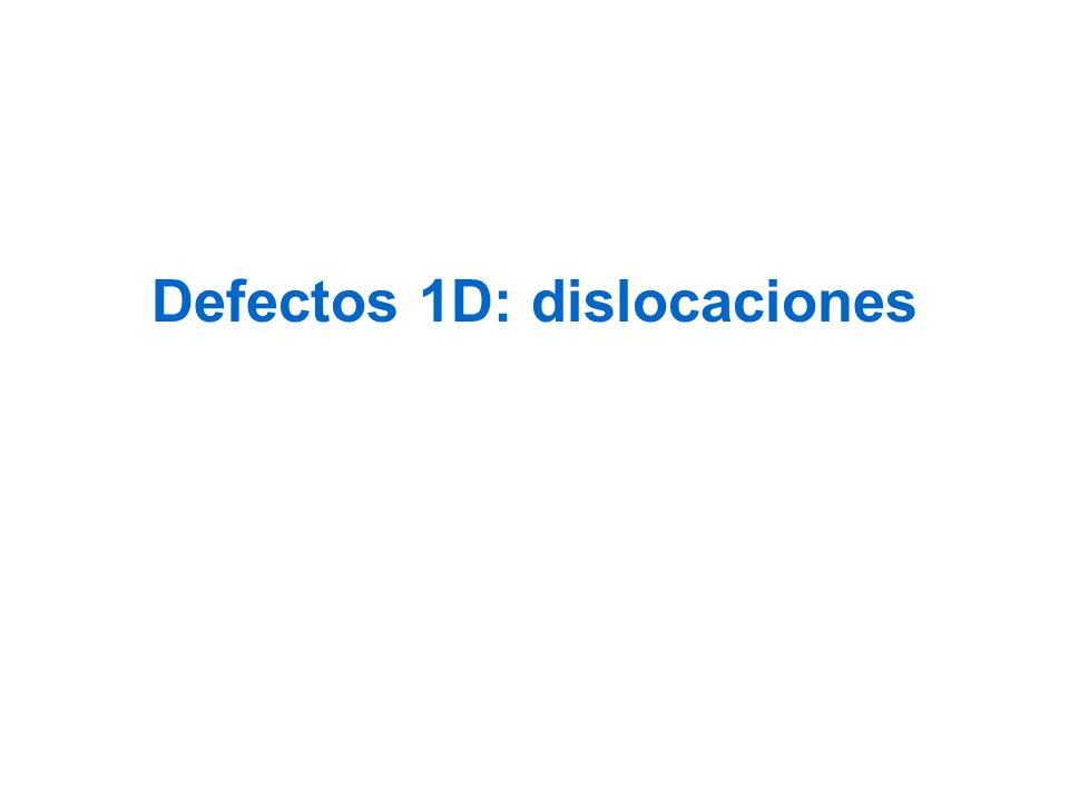 Defectos 1D: dislocaciones