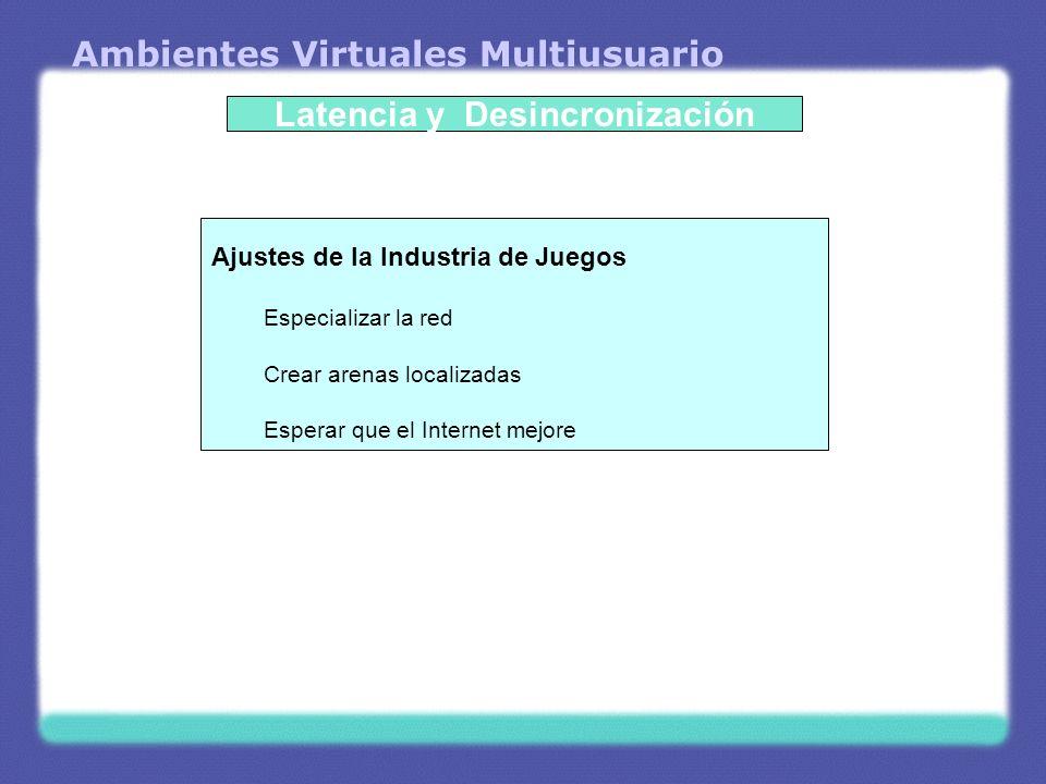 Ambientes Virtuales Multiusuario Latencia y Desincronización Ajustes de la Industria de Juegos Especializar la red Crear arenas localizadas Esperar qu