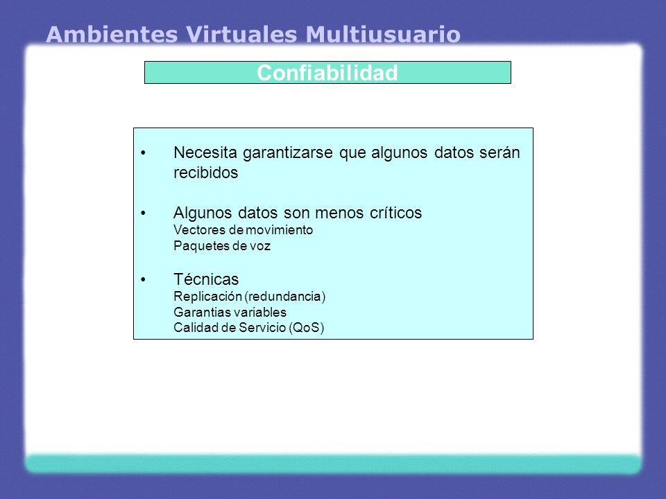 Ambientes Virtuales Multiusuario Confiabilidad Necesita garantizarse que algunos datos serán recibidos Algunos datos son menos críticos Vectores de mo