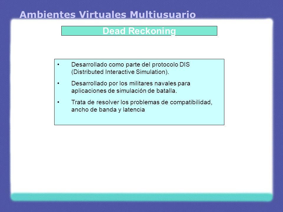 Ambientes Virtuales Multiusuario Dead Reckoning Desarrollado como parte del protocolo DIS (Distributed Interactive Simulation). Desarrollado por los m