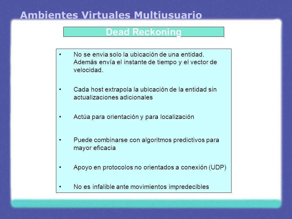 Ambientes Virtuales Multiusuario Dead Reckoning No se envia solo la ubicación de una entidad. Además envía el instante de tiempo y el vector de veloci