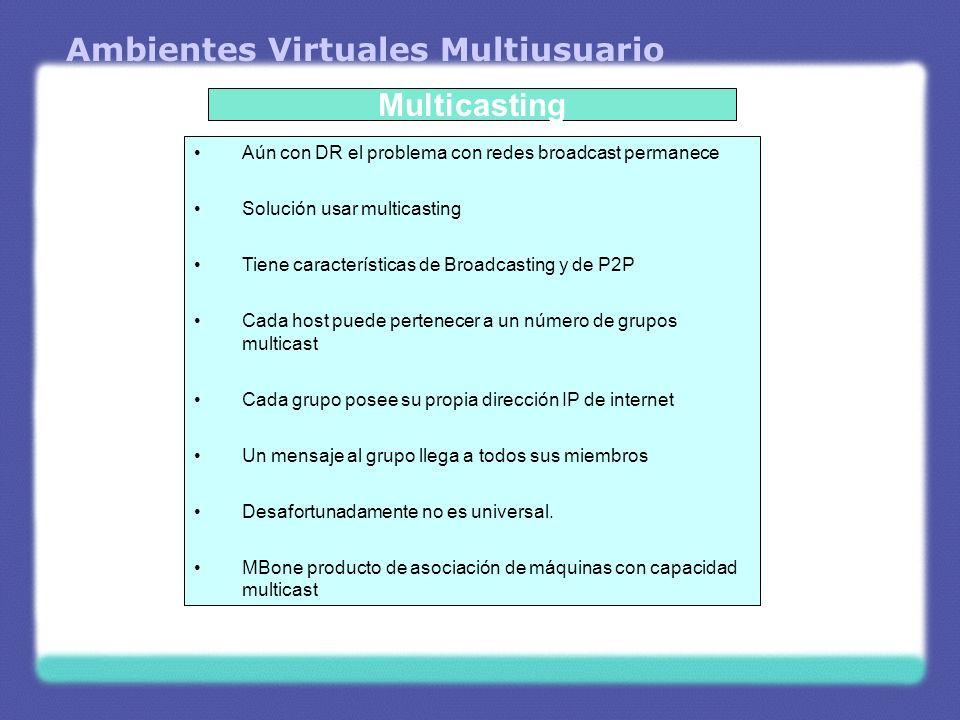 Ambientes Virtuales Multiusuario Multicasting Aún con DR el problema con redes broadcast permanece Solución usar multicasting Tiene características de