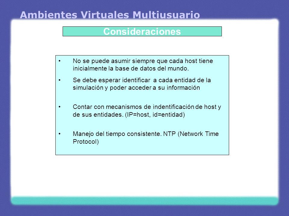Ambientes Virtuales Multiusuario Consideraciones No se puede asumir siempre que cada host tiene inicialmente la base de datos del mundo. Se debe esper