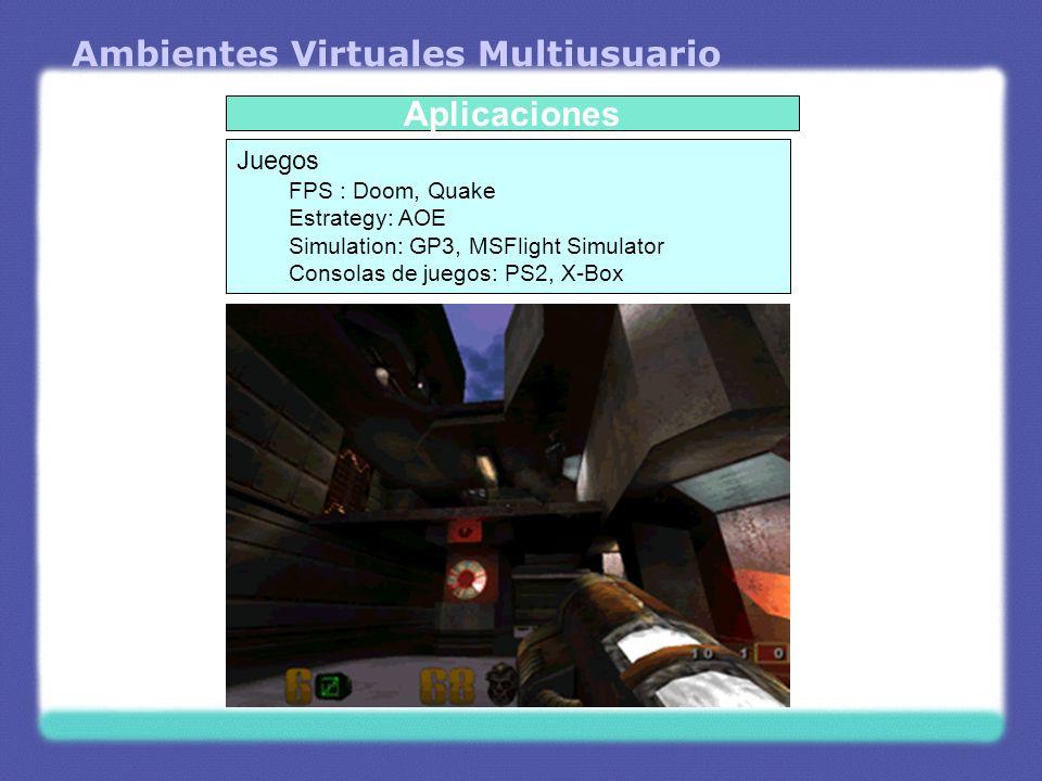 Ambientes Virtuales Multiusuario Aplicaciones Juegos FPS : Doom, Quake Estrategy: AOE Simulation: GP3, MSFlight Simulator Consolas de juegos: PS2, X-B