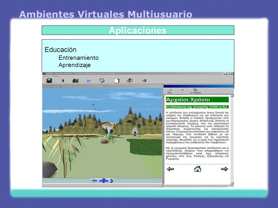 Ambientes Virtuales Multiusuario Educación Entrenamiento Aprendizaje Aplicaciones
