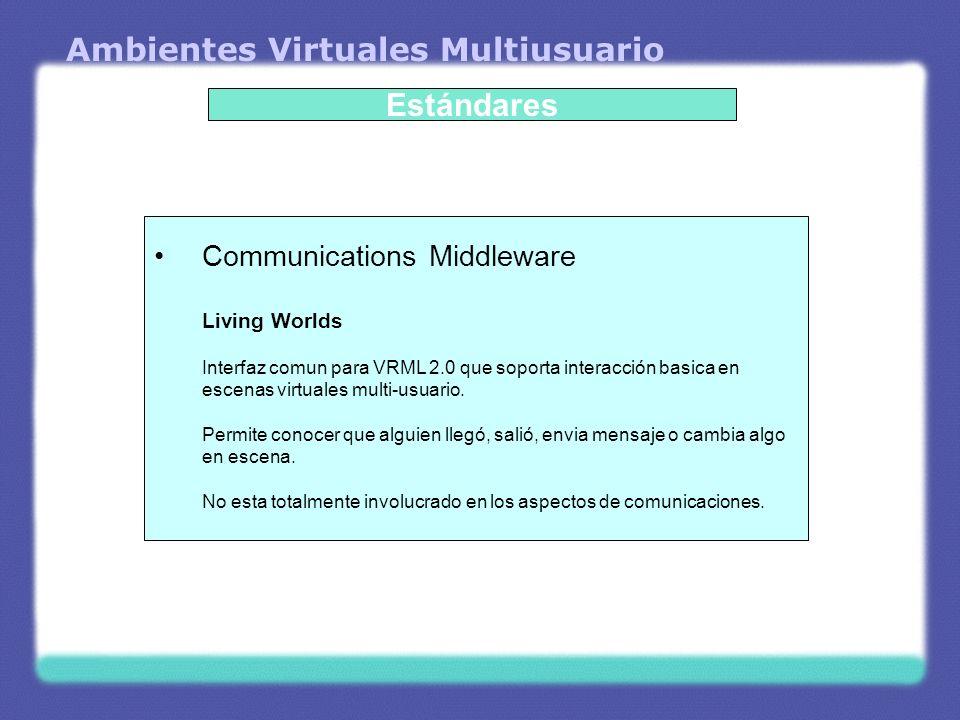Ambientes Virtuales Multiusuario Estándares Communications Middleware Living Worlds Interfaz comun para VRML 2.0 que soporta interacción basica en esc