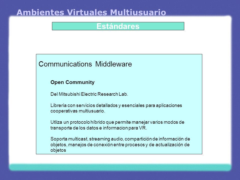 Ambientes Virtuales Multiusuario Estándares Communications Middleware High Level Architecture (HLA) Del U.S.