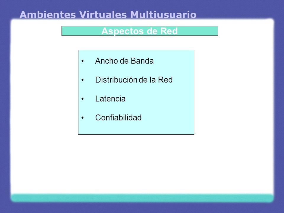 Ambientes Virtuales Multiusuario Ancho de Banda Influenciado por lo que se tiene en recursos frente a lo que se necesita desarrollar.