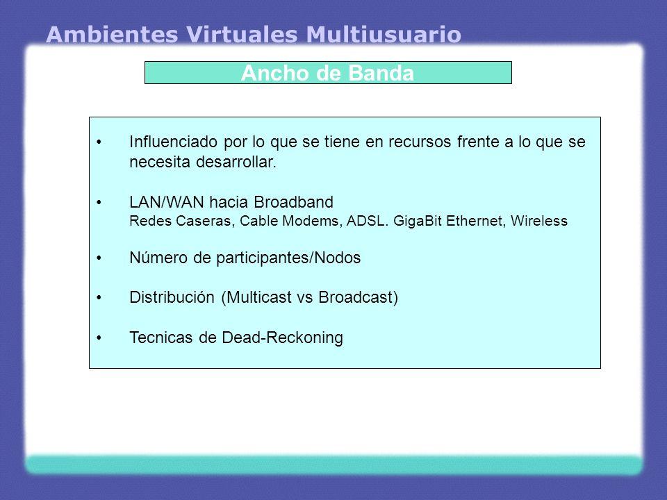 Ambientes Virtuales Multiusuario Ancho de Banda Influenciado por lo que se tiene en recursos frente a lo que se necesita desarrollar. LAN/WAN hacia Br