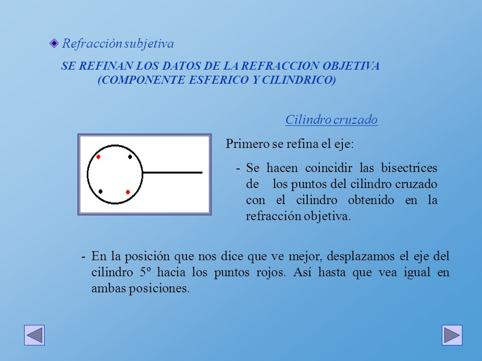 Refracción subjetiva SE REFINAN LOS DATOS DE LA REFRACCION OBJETIVA (COMPONENTE ESFERICO Y CILINDRICO) Cilindro cruzado Primero se refina el eje: -Se
