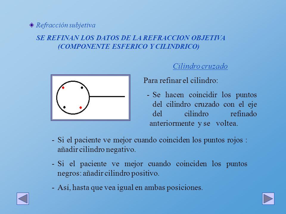 Refracción subjetiva SE REFINAN LOS DATOS DE LA REFRACCION OBJETIVA (COMPONENTE ESFERICO Y CILINDRICO) Cilindro cruzado Para refinar el cilindro: -Se