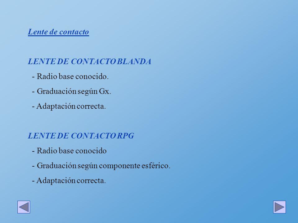Lente de contacto LENTE DE CONTACTO BLANDA - Radio base conocido. - Graduación según Gx. - Adaptación correcta. LENTE DE CONTACTO RPG - Radio base con