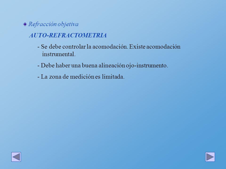 Refracción objetiva AUTO-REFRACTOMETRIA - Se debe controlar la acomodación. Existe acomodación instrumental. - Debe haber una buena alineación ojo-ins