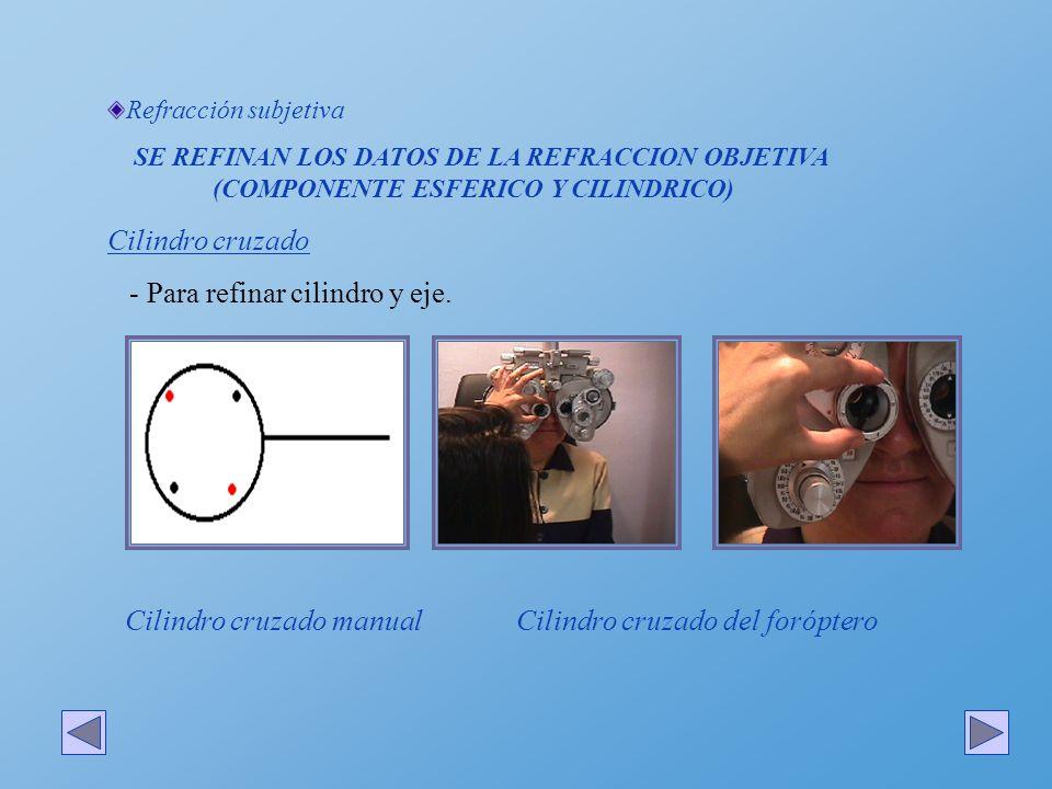Refracción subjetiva SE REFINAN LOS DATOS DE LA REFRACCION OBJETIVA (COMPONENTE ESFERICO Y CILINDRICO) Cilindro cruzado Primero se refina el eje: -Se hacen coincidir las bisectrices de los puntos del cilindro cruzado con el cilindro obtenido en la refracción objetiva.