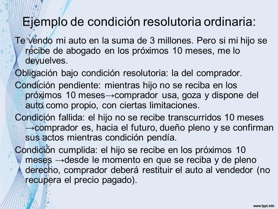 Ejemplo de condición resolutoria ordinaria: Te vendo mi auto en la suma de 3 millones.