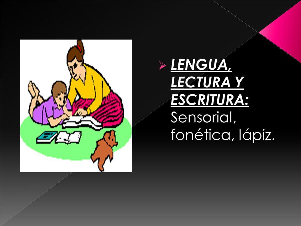 LENGUA, LECTURA Y ESCRITURA: Sensorial, fonética, lápiz.