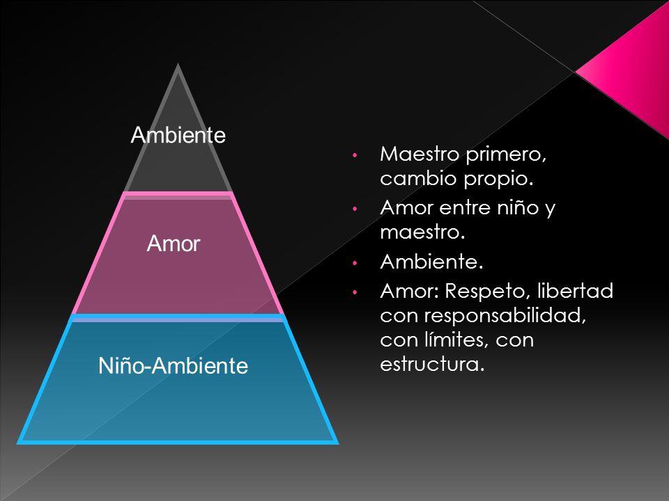 Maestro primero, cambio propio. Amor entre niño y maestro. Ambiente. Amor: Respeto, libertad con responsabilidad, con límites, con estructura. Ambient