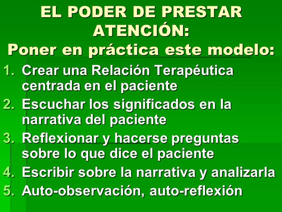 EL PODER DE PRESTAR ATENCIÓN: Poner en práctica este modelo: 1.Crear una Relación Terapéutica centrada en el paciente 2.Escuchar los significados en l